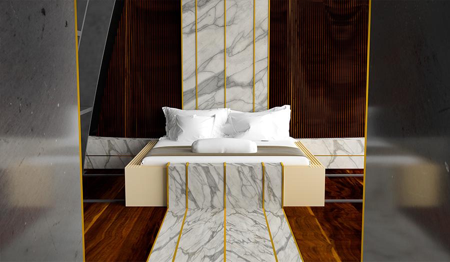 הדמיית חדר שינה בבית המלון.