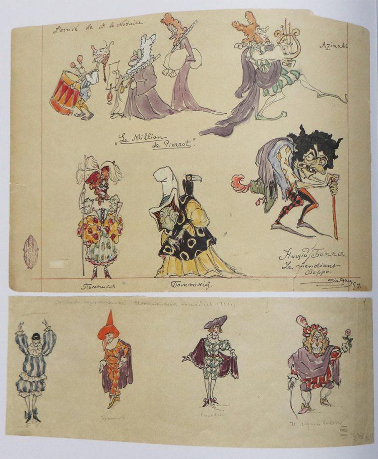 """דמויות מלאות אופי. למעלה: עיצוב דמויות למחזה """"Le Million de Pierrots"""" (1917) למטה: מסכות בסגנון קומדיה דל ארטה (Commedia Dell'arte) למחזה """"La Putta Onorata"""" (1917)"""