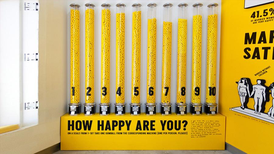 עד כמה את/ה מאושר/ת? צילום באדיבות סטודיו Sagmeister & Walsh