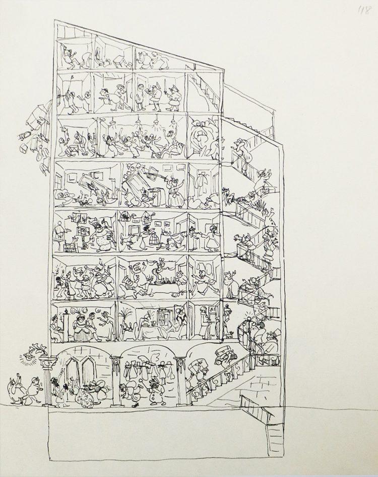 """(The House"""" ( 1914""""  הקפדה על הפרטים הקטנים בסצנות מורכבות."""