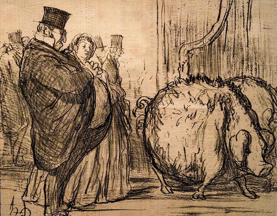 אונורה דומייה, צרפתי, 1808-1879, תערוכת החיות מס׳ 2 ״דמייני שיום יבוא ואהיה כזה שמן!״, הדפס אבן, לה שריווארי, 7 ביוני 1856.