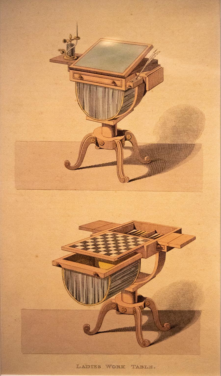 רודולף אקרמן, גרמני, פעל באנגליה, 1764-1834, שולחן למלאכות נשים, אקקווטינטה צבועה ביד, 1809