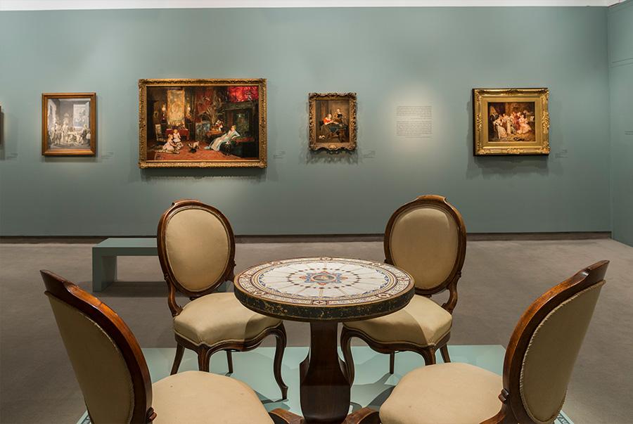 שולחן, גרמניה ואיטליה, 1850. עץ, מתכת ו״סקליולה״ (חיקוי שיש).