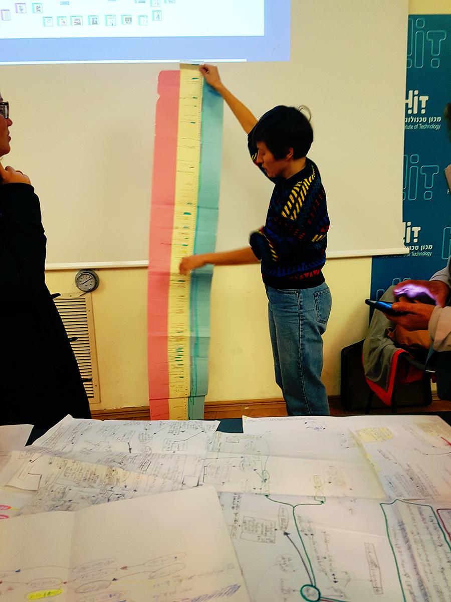 רביד מחזיקה מפת ציר זמן ענקית, מתוך הקורס 'היסטוריה ותיאוריה של העיצוב'. צילום: טל שאולי.
