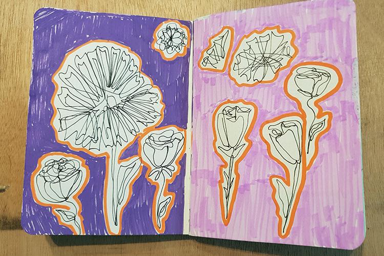 סקיצות של פרחים