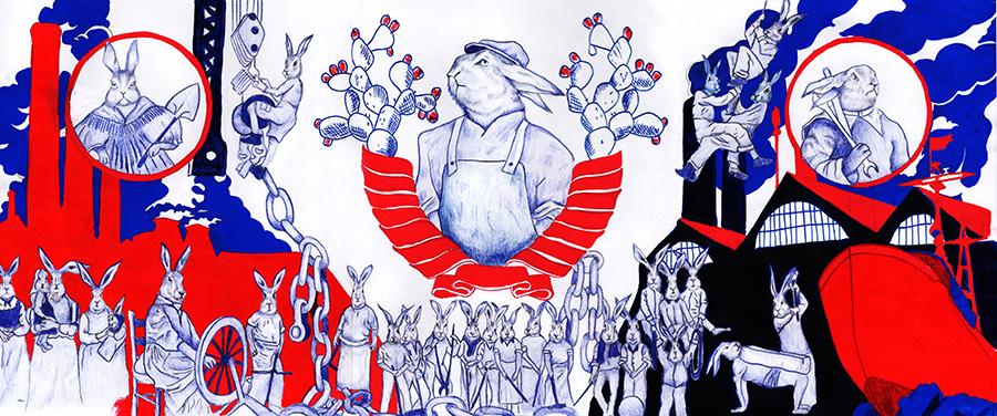 ארנבים סובייטים - איור בהשראת תקופה היסטורית שנעשה במסגרת קורס איור עם רותו מודן.
