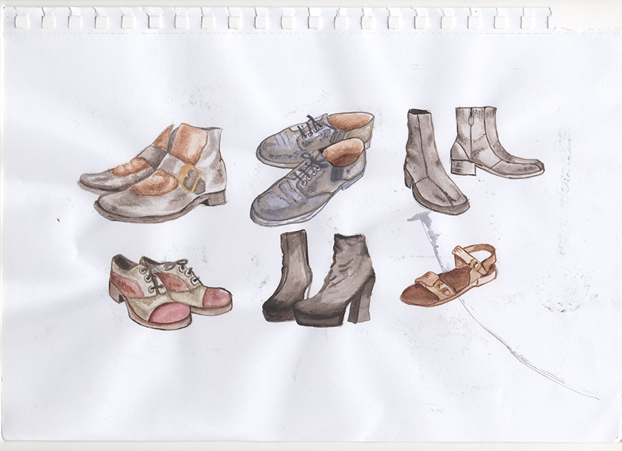 סקיצות הבוחנות איך היו החפצים והסביבה של יונה וולך, כחלק מעבודת חקירה עבור גלויות מאויירות.