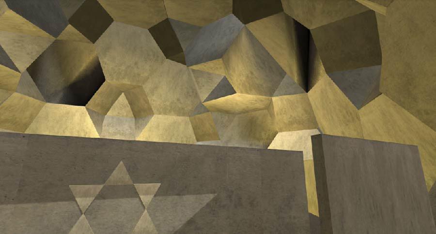״הצופה נכנס למבנה הבנוי כולו ממשושים וצורות גיאומטריות אחרות״, מתוך הפרויקט של ענבר