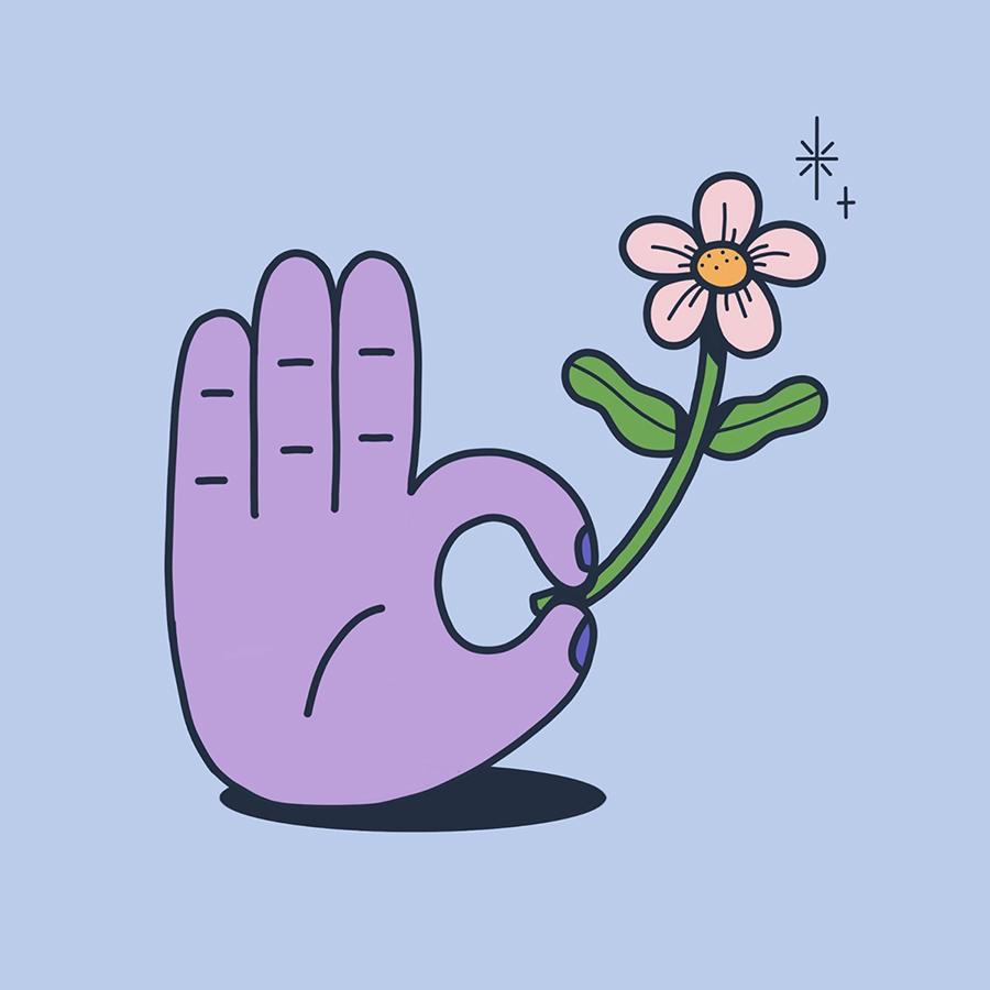 יד מחזיקה פרח